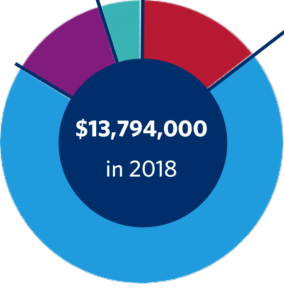 Graph showing that $13,794,000 was distributed in grants in 2018